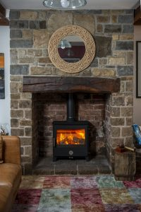 Warm Fireplace with a wood burning stove